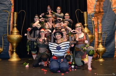 Anasma as Charlie Chaplin with the Love Army Dancers